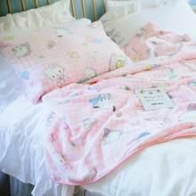Gato dos desenhos animados kt cobertor de pelúcia rainha tamanho cobertor na cama sofá plano cama lance cobertor do bebê decoração