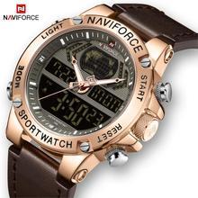 NAVIFORCE reloj para hombre, de cuero, resistente al agua, de cuarzo, analógico, Digital, Masculino