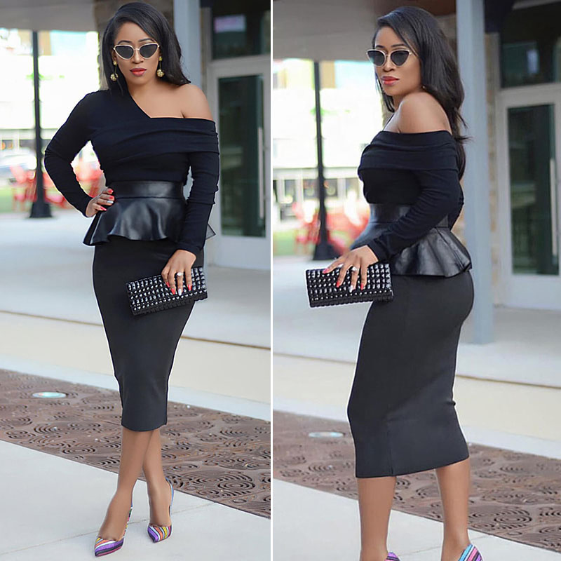 SEBOWEL Woman Inclined Shoulder Patchwork Leather Midi Dress Long Sleeve Work Office Ladies Pencil Peplum Dresses Elegant Autumn in Dresses from Women 39 s Clothing