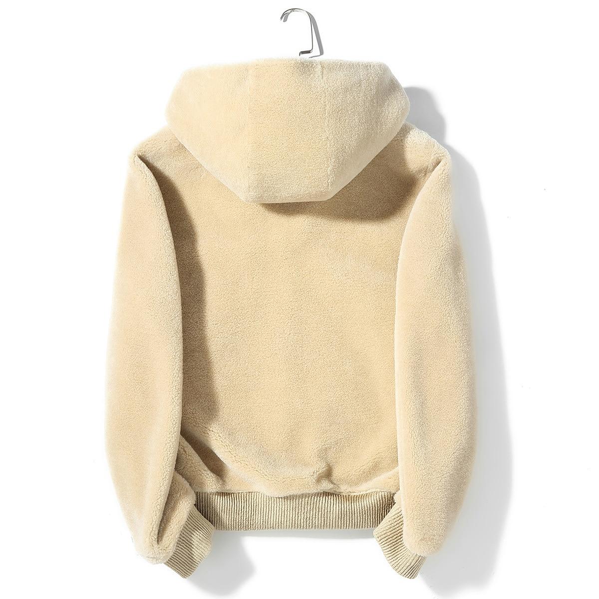 Real Fur Coat Men Hooded Short Autumn Winter Jacket Sheep Shearing 100% Wool Fur Coat Chaqueta Hombre Invierno K9SYJI003