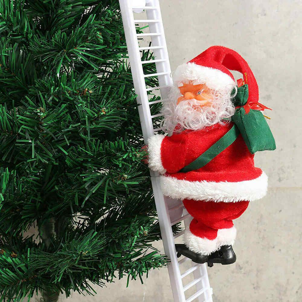 Engraçado natal papai noel escada de escalada elétrica pendurado decoração árvore de natal ornamentos festa crianças presentes