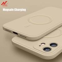 Funda magnética de silicona líquida para móvil, carcasa trasera magnética para iPhone 12 Pro Max, 11Pro, X, Xs, Xr, 7, 8 Plus, 13, Mini cargador inalámbrico