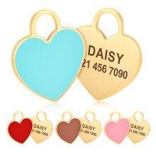 Etiqueta personalizada de aço inoxidável do cão da forma do ouro anti-perdido etiqueta de identificação do cão do coração personalizado gravado pequeno médio grande do animal de estimação