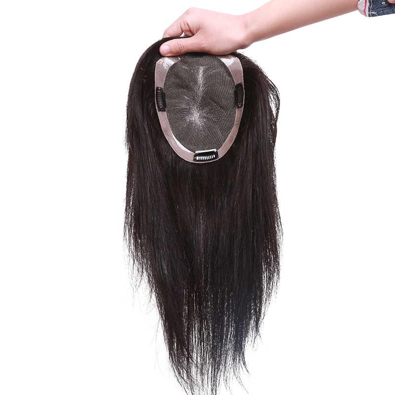 6x11cm 10 cal-20 cal prosto koronki + PU baza włosów Topper Toupee treski dla kobiet 100% Remy ludzki peruka włosów dla kobiet