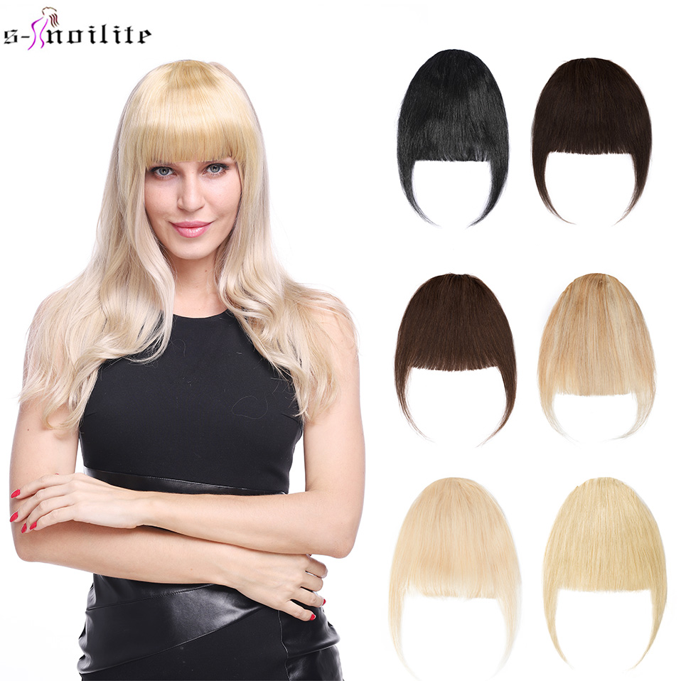 Hair-Bangs Front-Fringe-Clip Human S-Noilite Blonde Blunt Neat Sweeping-Side Remy Natural-Black
