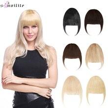 S-ноилит 25 г аккуратный фронт бахрома заколка волосы челка в человек Реми волосы наращивание подметание сбоку тупой челка натуральный черный блонд