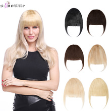 S-noilite 25g Neat Front Fringe Clip Hair Bangs In Human Remy Hair Extensions Sweeping Side Blunt Bang Natural Black Blonde