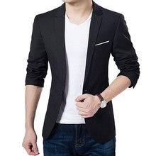 New Man's Korean Fashion Slim Cotton White Fitted Blazer Men
