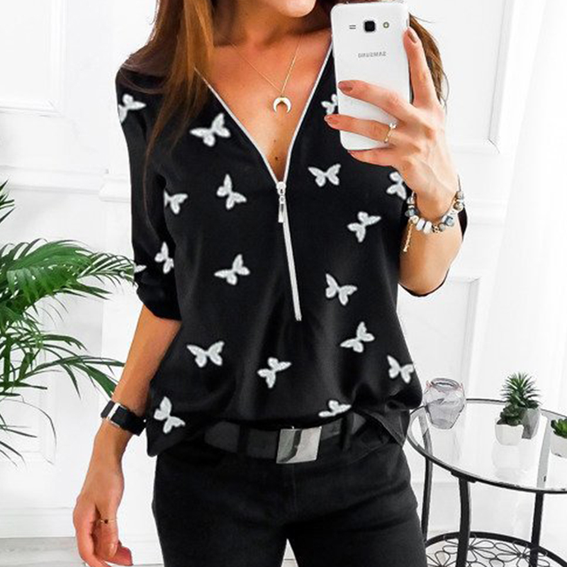 V Neck Shirt Loose Floral Print Tunic Shirt Plus Size Tops 2020 Spring Front Zipper Blouse Fashion Woman Clothes 5XL Women Tunic