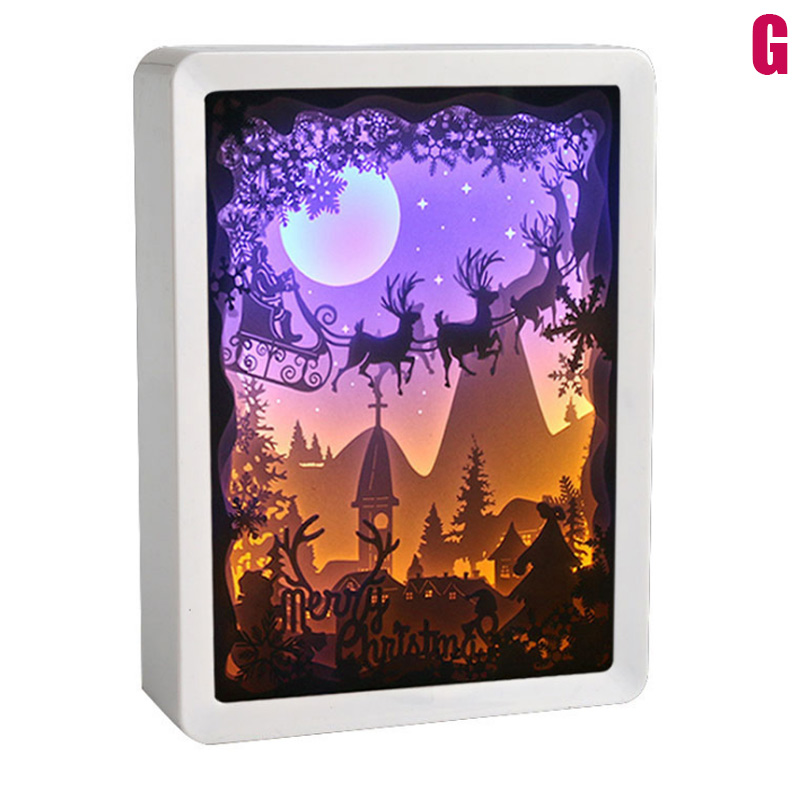 3D Night Lamp Paper Pattern Painting LED Table Shadow Box Frame Party Home Decor QP2