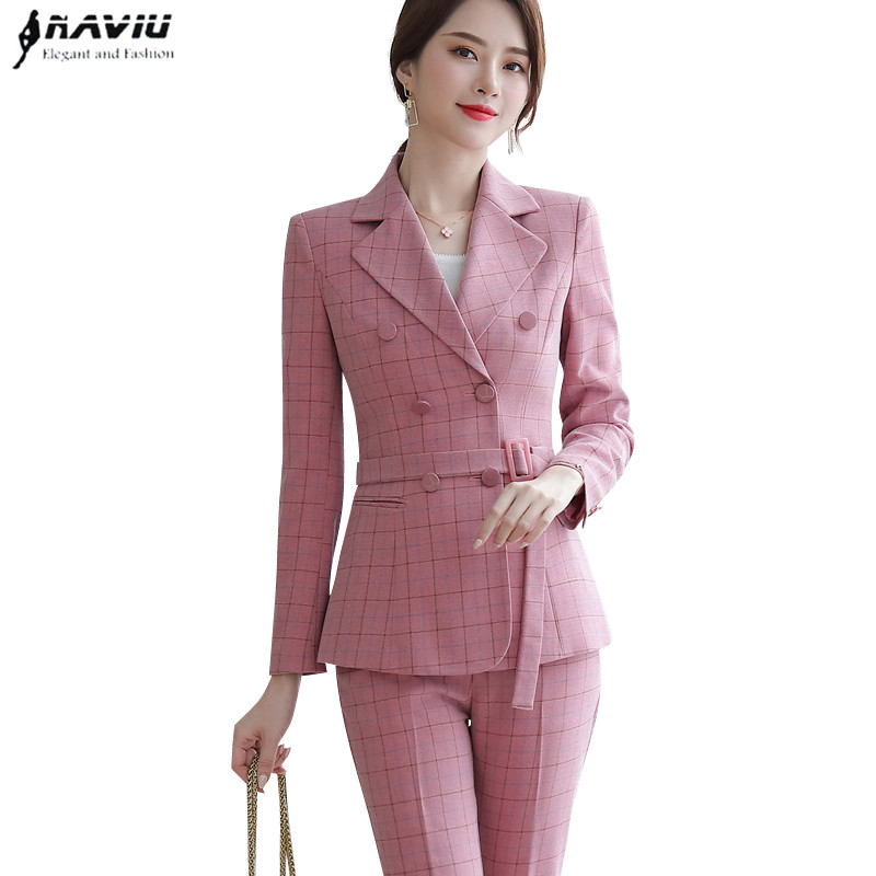 2019 Autumn Plaid pants sutis women slim fashion temperament professional long sleeve blazer and pants office ladies foraml work 4
