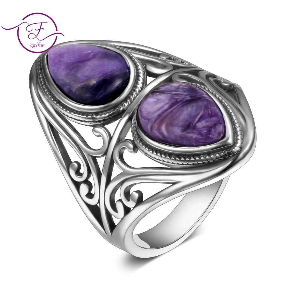 Charms 6x9MM Natural Charoite Beads Rings Women's 925 Sterling Silver Jewelry Vintage Ring Anniversary Party Gifts For Women