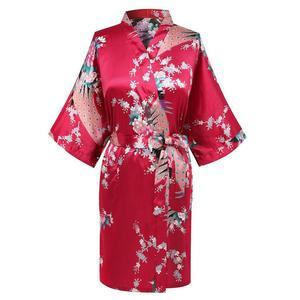 CEARPION, Сексуальный банный халат с цветочным принтом, пижама с павлином, женская одежда для сна, атласное кимоно, домашняя одежда, неглиже, большие размеры, S-3XL