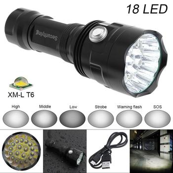 SecurityIng Super Bright 18x XM-L T6 LED 9000 Lumens Waterproof Flashlight Torch with 6 Modes Light USB charging for Outdoor securitying 10w xml l2 led multi function flashlight usb charging handheld bracket light with 3 modes light for patrolling