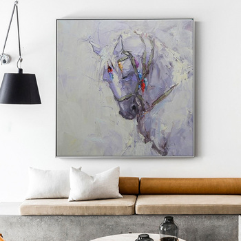 Nordic Style Pure hand-painted Oil Painting Decorative Painting Horse Paintings Den Office Hallway Mural Of large-size Manual