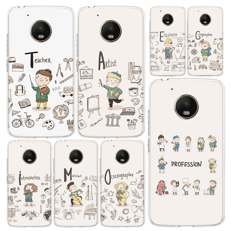 Cute Profession Teacher Phone Case Cover For Motorola Moto G8 G7 G6 G5 G5S G4 E6 E5 E4 Power Plus Play One Action Macro Vision C