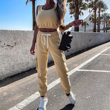 Summer Two Piece Sexy Fashion Strapless Sleeveless Hollow Ladies Suit Loose Casual Stitching Sweater Trousers Two-Piece Sets