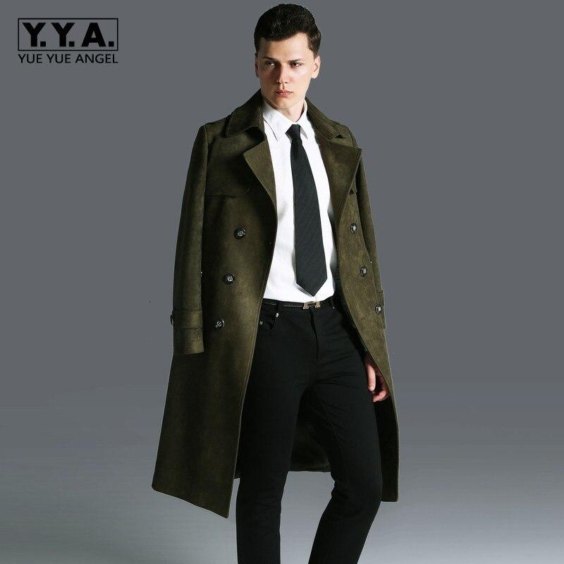 Vintage Men Long Coat Lapel Collar Faux Suede Leather Mantel Herren Gothic Military Overcoat Straight Trench Plus Size Sobretudo