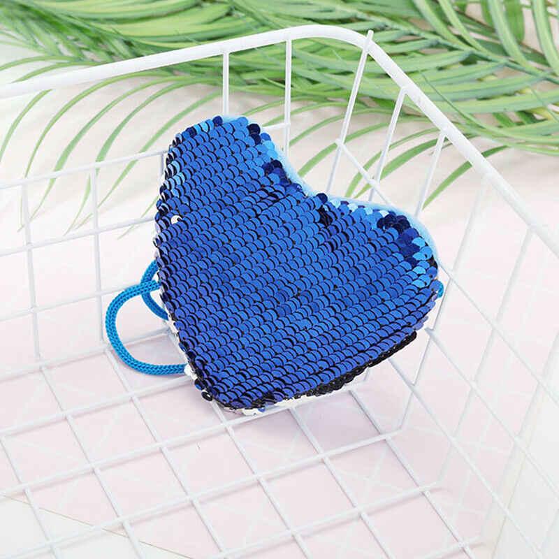 Lantejoulas forma do coração crianças ombro bolsa de moedas bebê meninas sereia dos desenhos animados bolsa bolsas mini carteiras