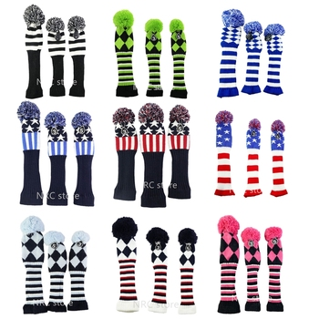 Golf clubs Headcover 3 Pcs/set Knitted Hybrid UT Driver Fairway Wood 1 3 5  Wood Knitting golf clubs driver putter headcover no1 driver cartoon animal wood headcover clubs protection covers