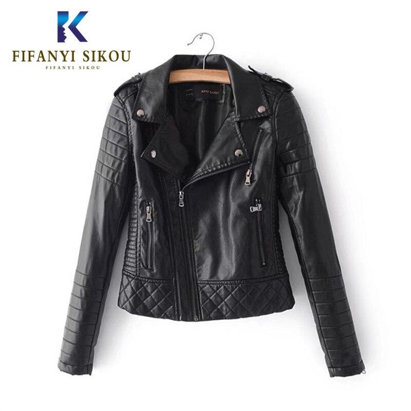 Autumn Women Pu Leather Jacket Woman Fashion Zipper Motorcycle Short Coat Female Black Punk Bomber Faux Leather Jackets Outwear