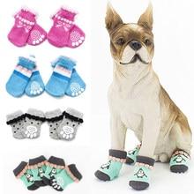 Inverno quente cão de estimação gato malha sapatos interior grosso macio inferior algodão sapatos para cães pequenos gatos anti-deslizamento meias pet suprimentos