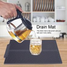 Rectangle Silicone Drain Mat Drying Dishes Pad Heat Resistant Slip-proof Tray Table Mats Silicone Placemat Kitchen accessories silicone drain mat water coaster placemat table mat kitchen tool heat resistant non slip tray home kitchen dishwashing drain mat