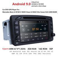 2 Din Android 9.0 Car DVD Radio Player car stereo gps navi For Benz W203 W208 W209 W210 W463 Vito Viano with wifi bt swc dab+obd