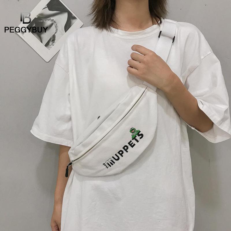 Fanny Unisex Waist Pack Canvas Sports Pouch Casual Crossbody Belt Packs Letters Waist Bags Women Zipper Phone Pouch Chest Bag