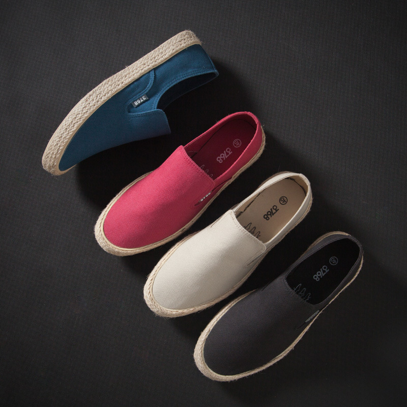Dropship 2020 Hot Men Casual Canvas Shoes Woven Straw Shoes Men Sneakers Fashion Flats Men Slip Ons Footwear 2h46