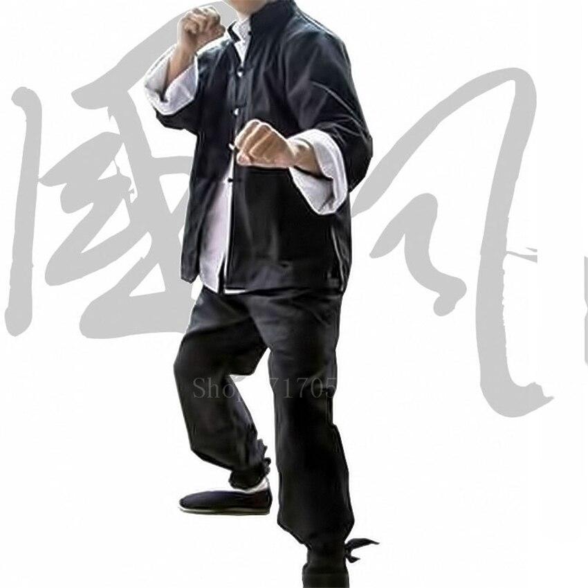 3Pcs Chinese Traditional Tang Suit Set Men Yip Man Bruce Lee Kung Fu Practice Uniform Black Linen Shirt Pants Tai Chi Outfits