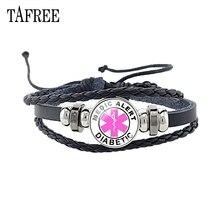 TAFREE диабет аварийная медицинская тревога черные кожаные браслеты лучший дизайн для диабетического здоровья очаровательные браслеты ювелирные изделия MA52