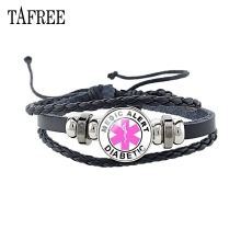 TAFREE DIABETES Emergency Medical Alert black leather bracelets best design for Diabetic health charm bangles jewelry MA52