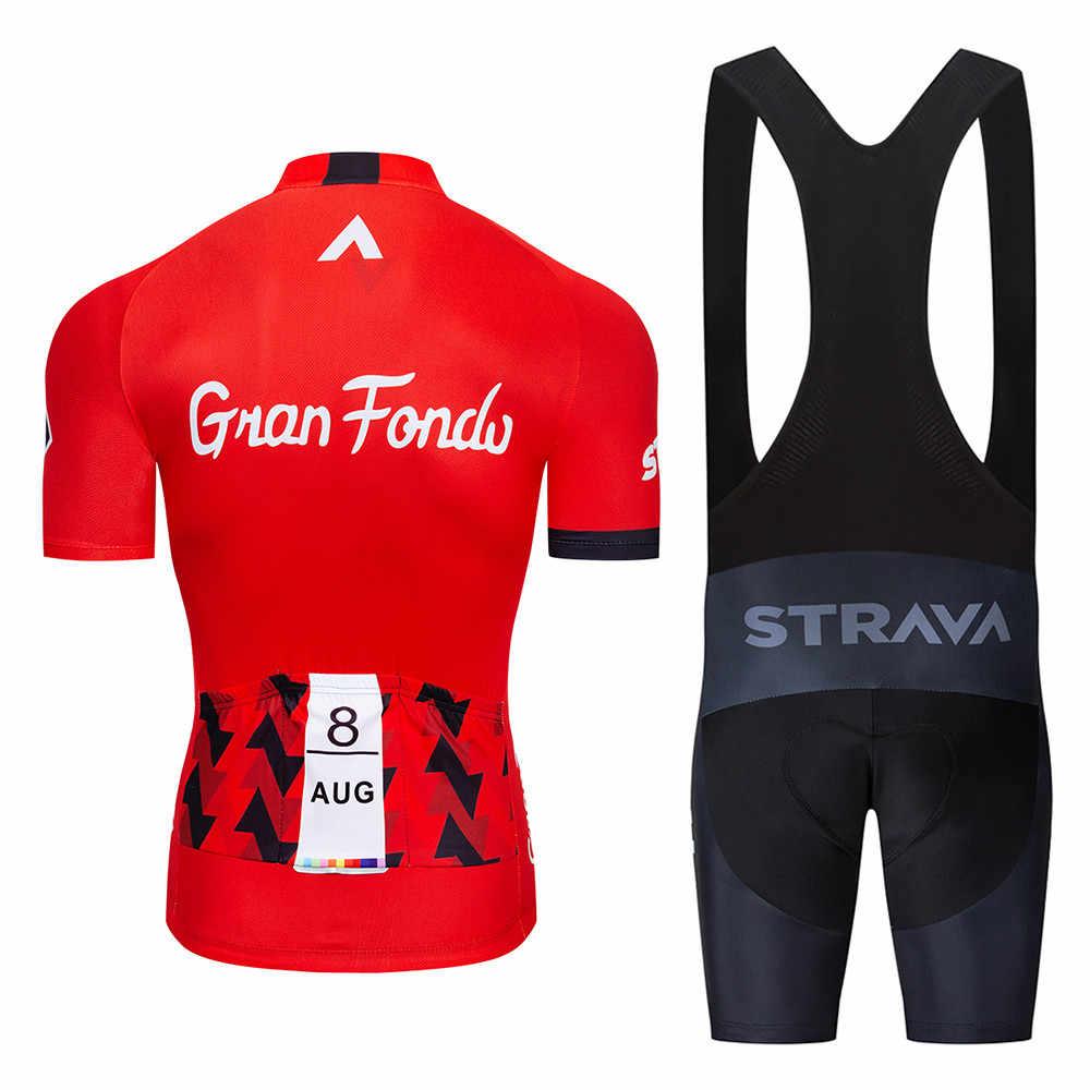 2019 STRAVA Pro equipo verano ciclismo Jersey conjunto ropa de bicicleta transpirable hombres de manga corta Camiseta Bike bib shorts 20D Gel pad