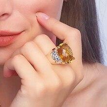 20*15mm gran Topacio dorado zirconia anillo de joyería de lujo Chapado en plata joyería grande para mujer anillos de cóctel fiesta