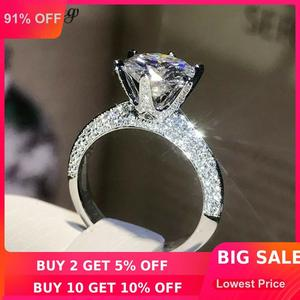Image 1 - خاتم من الفضة الإسترلينية 100% حقيقي 925 من shucong يُصنع يدويًا خاتم دائري من الزركون 0.8ct AAAAA خاتم خطوبة زفاف للنساء والرجال بيجو
