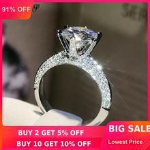 Choucong feito à mão 100% real 925 anel de prata esterlina redondo 0.8ct aaaaa zircon noivado casamento anéis de banda para mulher bijoux