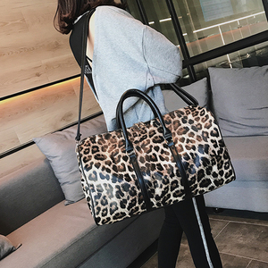 Image 5 - Outdoor PU Leather Sports Gym Bag Women Men Training Fitness Crossbody Shoulder Bag Leopard Print Travel Yoga Handbag