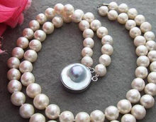 "Beautiful Excellent! 17"" 11mm Bead-Nucleated Pearl Necklace-Mabe Clasp(China)"