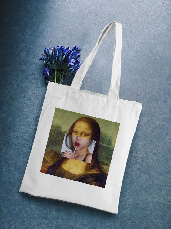 Vintage Mona Lisa Fun Print New Fashion Large Art Capacity Summer Shoulder Bag Canvas Female Shopping Bag Eco Handbag Tote