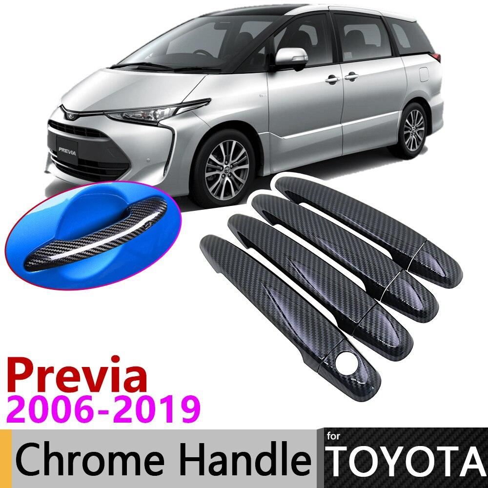 Black Carbon Fiber Door Handle Cover For Toyota Previa Tarago Estima Aeras XR50 2006~2019 Accessories Stickers Trim Set Chrome