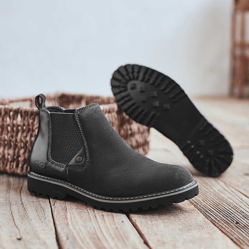 2019 winter Men Chelsea boots Genuine Leather fashion ankle Luxury rubber High Quality male boot #KB3138