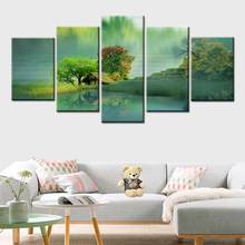 Modern 5 Piece Wall Art dream Forest Garden Cottage Landscape Canvas Painting Framework Home Decor Modular Picture Print Poster