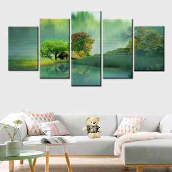 Modern 5 Piece Wall Art dream Forest Garden Cottage Landscape Canvas Painting Framework Home Decor Modular Picture Print Poster - DISCOUNT ITEM  49% OFF All Category