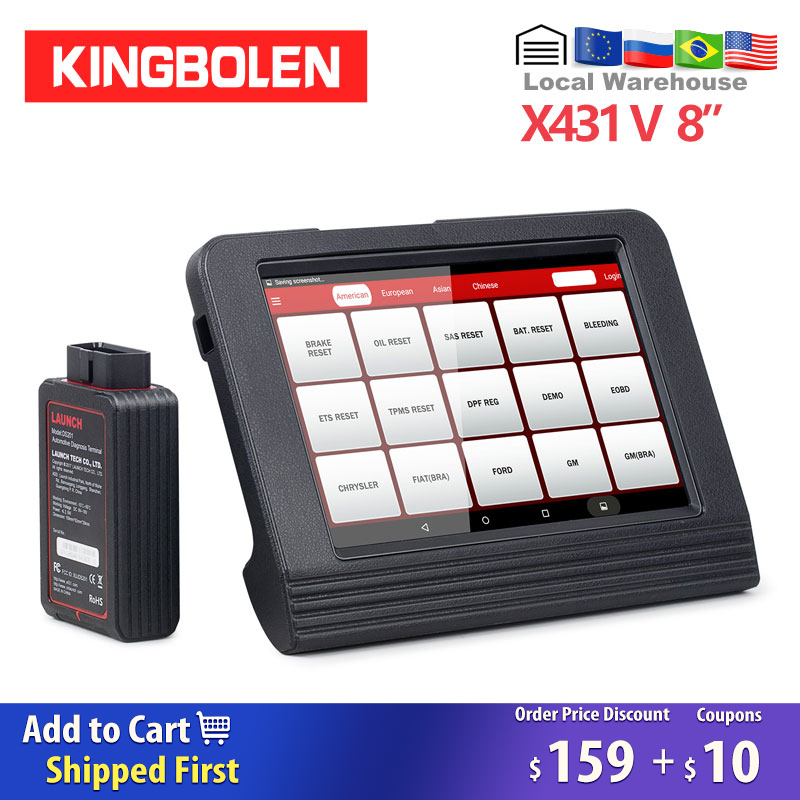 <font><b>LAUNCH</b></font> <font><b>X431</b></font> V 8 Inch Android PAD Diagnostic Tool <font><b>2</b></font> years free Update DBScar Adapter easydiag X-431 pro pro3 OBD2 Auto scanner image