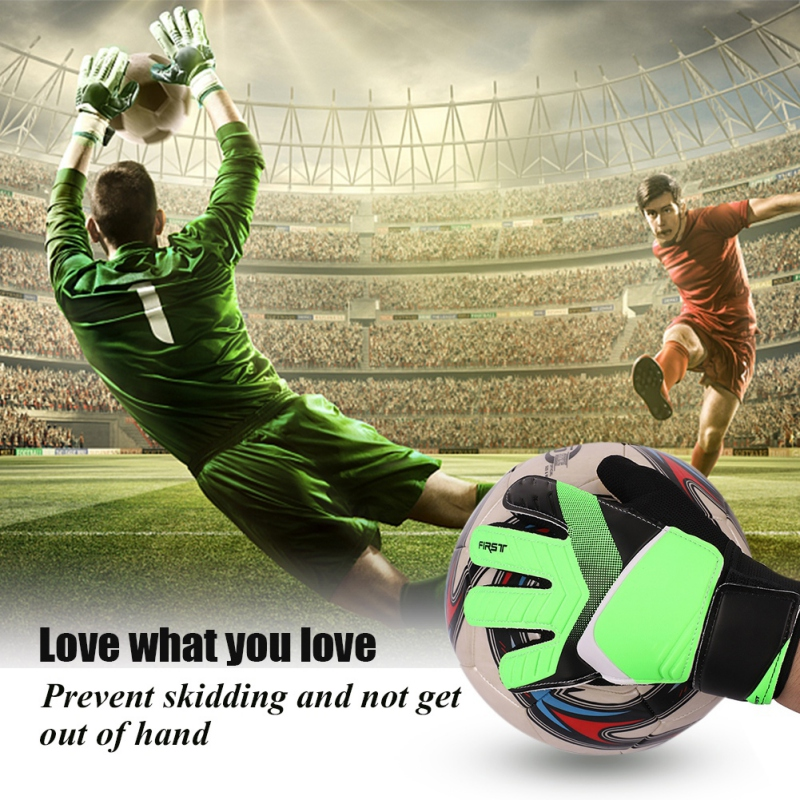 Child Full Finger Goalie Gloves Kid Boys Girls Rubber Anti Slip Wrist Wrap Football Soccer Apparel Accessories For Goalkeeper