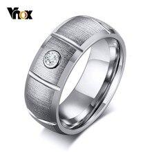 Vnox 8mm Color Matte Surface Rings for Men Tungsten Carbide AAA CZ Stone Alliance Comfort Wear Casual Male Jewelry vnox rock punk necklace men jewelry 100% tungsten carbide necklaces