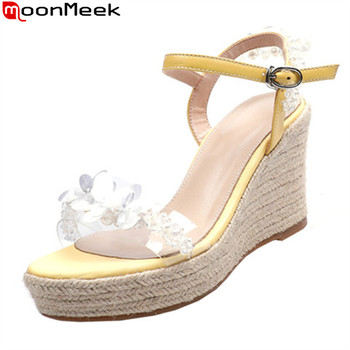 MoonMeek 2020 New arrival summer women sandals genuine leather wedges party shoes fashion platform ladies shoes black