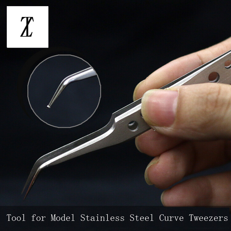Model Making Tools Gundam Military Model Stainless Steel Antistatic Tweezers Curved Non-slip Tweezer