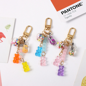 Cute Muticolored Bears Candy Jelly Summer Drinks Resin Keychain Key Chains Ring Car Bag Pendent Charm Airpods Accessories D593(China)